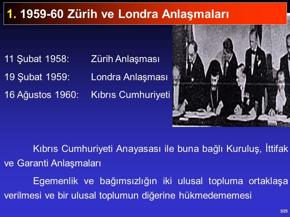 3/25 11 Şubat 1958:Zürih Anlaşması 19 Şubat 1959:Londra Anlaşması 16 Ağustos 1960:Kıbrıs Cumhuriyeti Kıbrıs Cumhuriyeti Anayasası ile buna bağlı Kurul