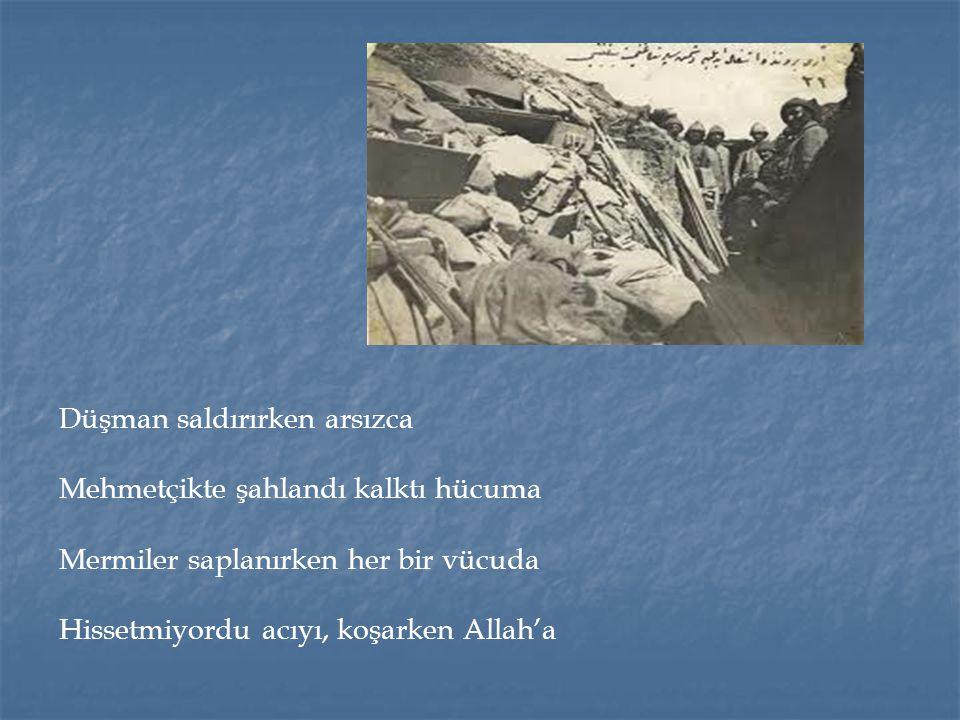 Düşman saldırırken arsızca Mehmetçikte şahlandı kalktı hücuma Mermiler saplanırken her bir vücuda Hissetmiyordu acıyı, koşarken Allah'a