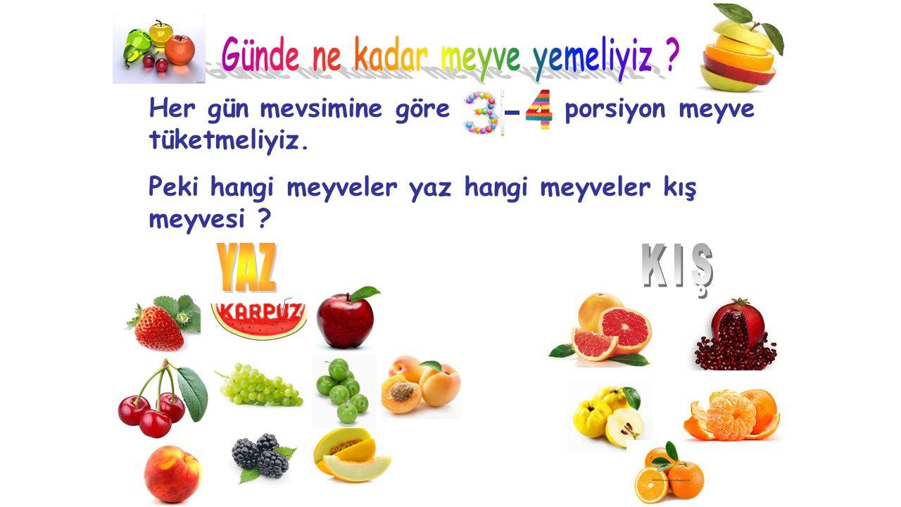 Her gün mevsimine göre porsiyon meyve tüketmeliyiz. Peki hangi meyveler yaz hangi meyveler kış meyvesi ?