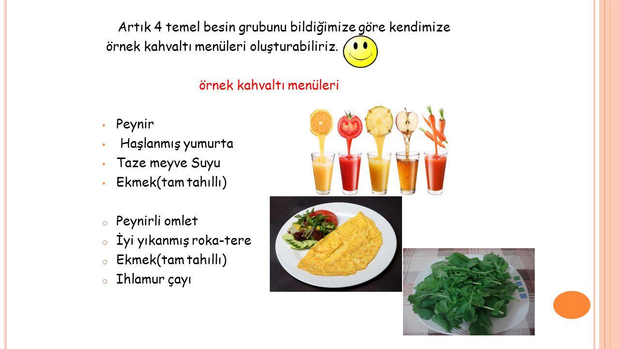 Artık 4 temel besin grubunu bildiğimize göre kendimize örnek kahvaltı menüleri oluşturabiliriz. örnek kahvaltı menüleri Peynir Haşlanmış yumurta Taze