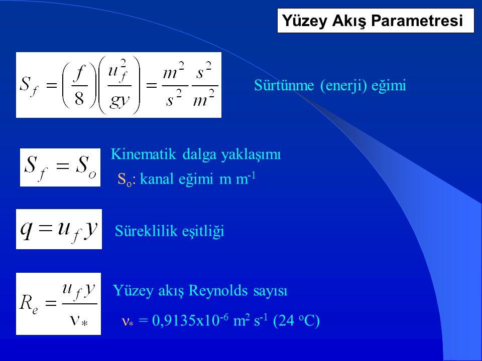 Yüzey Akış Parametresi * = 0,9135x10 -6 m 2 s -1 (24 o C) Sürtünme (enerji) eğimi S o : kanal eğimi m m -1 Kinematik dalga yaklaşımı Süreklilik eşitli