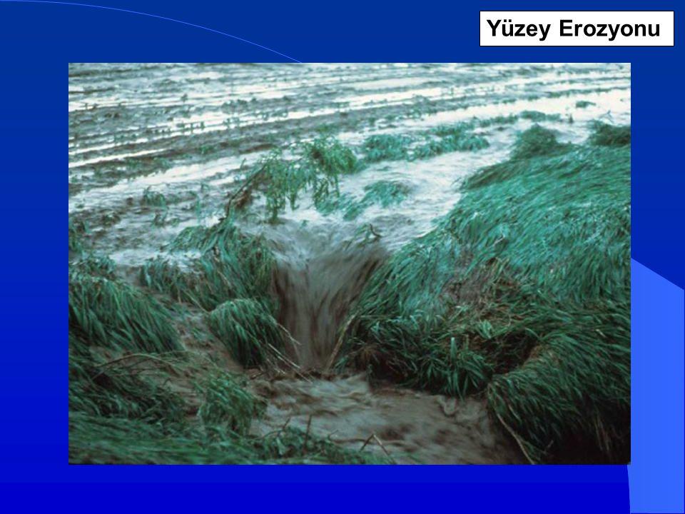 Yağmur Damlası ile Parçalanma ve Yüzey Akış ile Taşınım (DP – AT) Yüzey Erozyonu Birçok durumda, ince yüzey akışlar toprak yüzeyinde duran gevşek parçacıkları hareket ettirme veya taşıma gücüne sahiptirler, fakat, alttaki parçacıkları koparma güçleri yoktur.