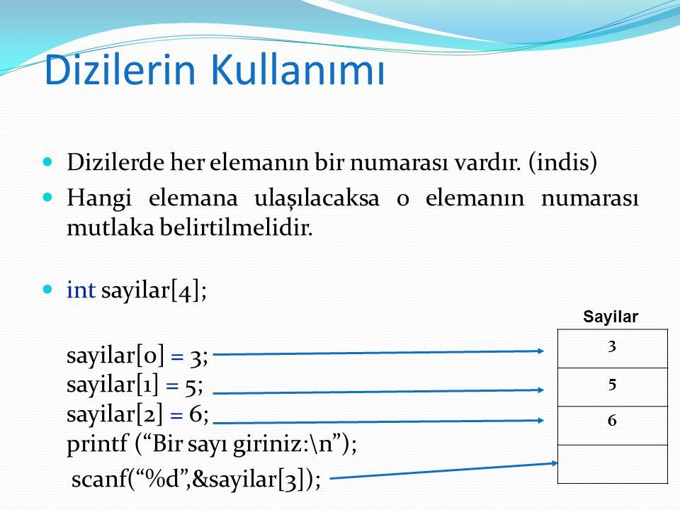 Örnek void main(){ int sayilar[4]; sayilar[ 0 ] = 3; sayilar[1] = 5; sayilar[2] = 6; printf ( Bir sayı giriniz:\n ); scanf( %d ,&sayilar[3]); for (int i= 0 ;i< 4 ;i++) printf( %d\n , sayilar[i]); }