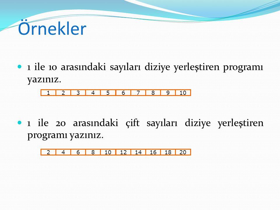 Örnekler 1 ile 10 arasındaki sayıları diziye yerleştiren programı yazınız. 1 ile 20 arasındaki çift sayıları diziye yerleştiren programı yazınız. 1234