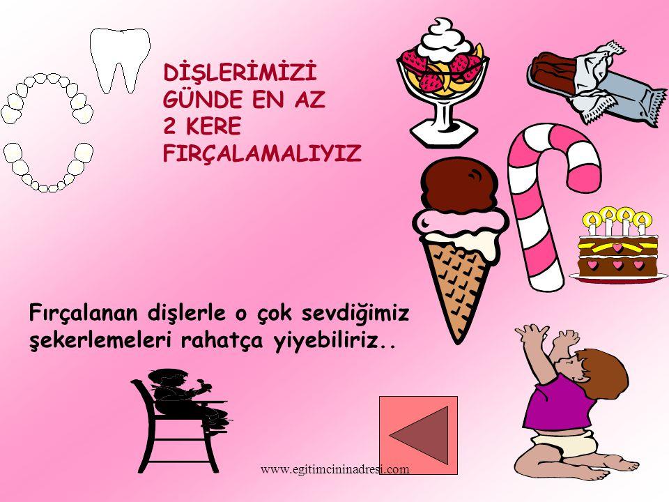 DİŞLERİMİZİ GÜNDE EN AZ 2 KERE FIRÇALAMALIYIZ Fırçalanan dişlerle o çok sevdiğimiz şekerlemeleri rahatça yiyebiliriz.. www.egitimcininadresi.com