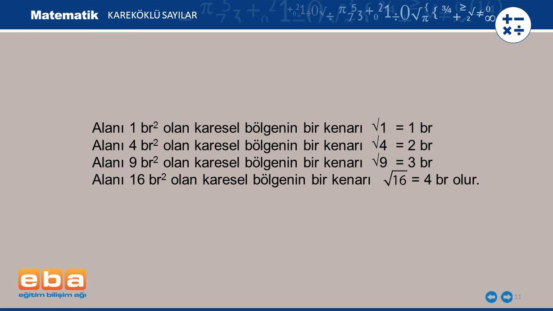 11 KAREKÖKLÜ SAYILAR Alanı 1 br 2 olan karesel bölgenin bir kenarı 1 = 1 br Alanı 4 br 2 olan karesel bölgenin bir kenarı 4 = 2 br Alanı 9 br 2 olan karesel bölgenin bir kenarı 9 = 3 br Alanı 16 br 2 olan karesel bölgenin bir kenarı = 4 br olur.