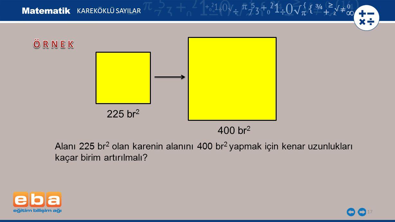 17 KAREKÖKLÜ SAYILAR 225 br 2 400 br 2 Alanı 225 br 2 olan karenin alanını 400 br 2 yapmak için kenar uzunlukları kaçar birim artırılmalı?