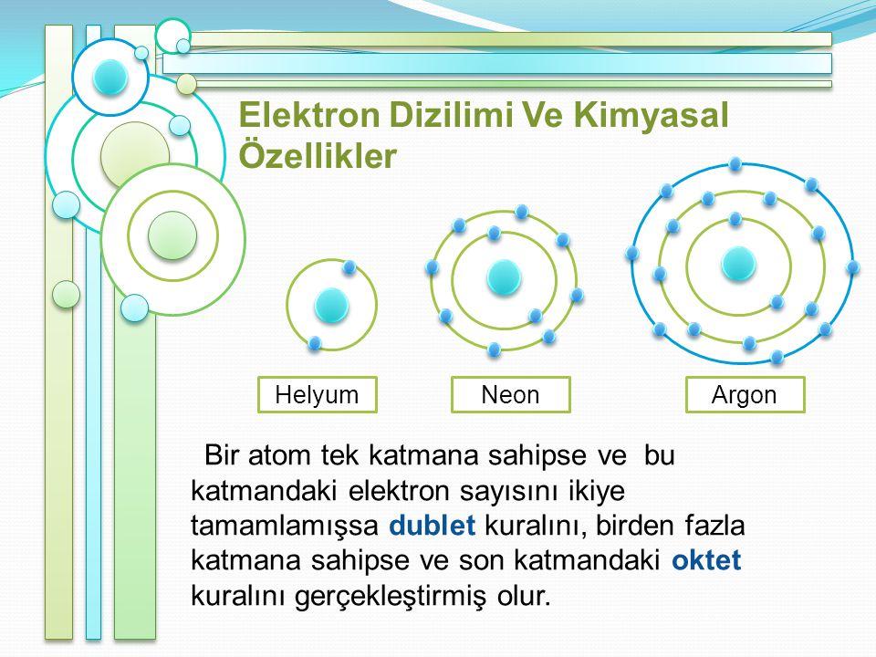 Elektron Dizilimi Ve Kimyasal Özellikler Bir atom tek katmana sahipse ve bu katmandaki elektron sayısını ikiye tamamlamışsa dublet kuralını, birden fazla katmana sahipse ve son katmandaki oktet kuralını gerçekleştirmiş olur.