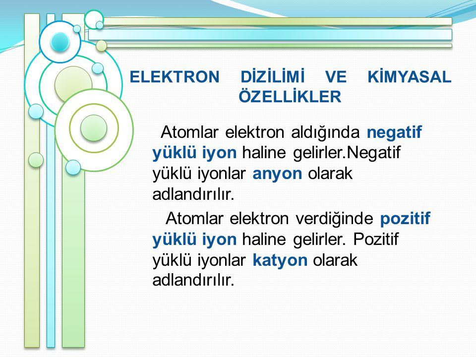 ELEKTRON DİZİLİMİ VE KİMYASAL ÖZELLİKLER Atomlar elektron aldığında negatif yüklü iyon haline gelirler.Negatif yüklü iyonlar anyon olarak adlandırılır.
