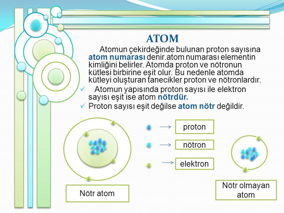 ATOM Atomun çekirdeğinde bulunan proton sayısına atom numarası denir.atom numarası elementin kimliğini belirler.