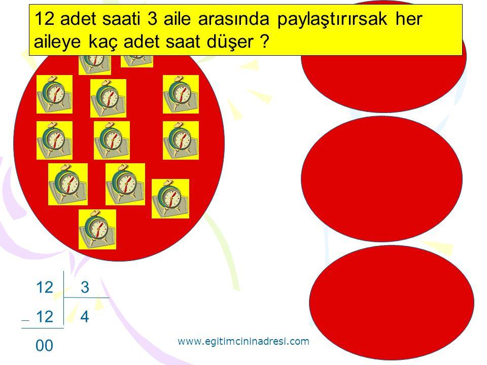 www.egitimcininadresi.com 12 3 12 4 00 12 adet saati 3 aile arasında paylaştırırsak her aileye kaç adet saat düşer
