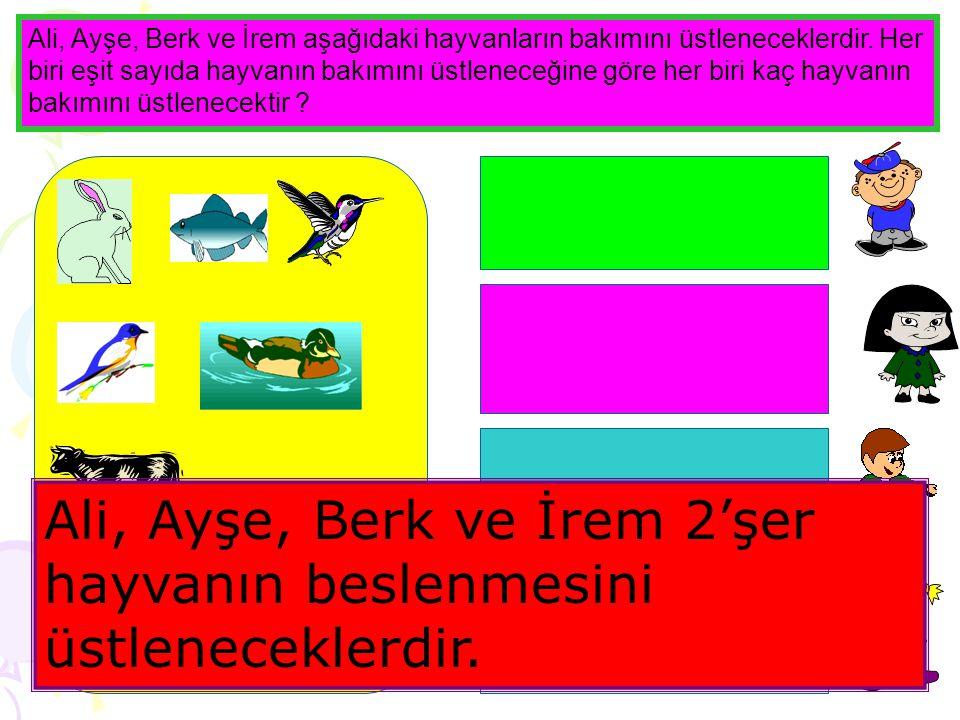 www.egitimcininadresi.com Ali, Ayşe, Berk ve İrem aşağıdaki hayvanların bakımını üstleneceklerdir.