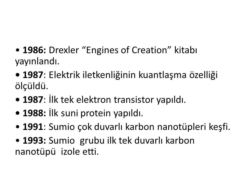 """1986: Drexler """"Engines of Creation"""" kitabı yayınlandı. 1987: Elektrik iletkenliğinin kuantlaşma özelliği ölçüldü. 1987: İlk tek elektron transistor ya"""