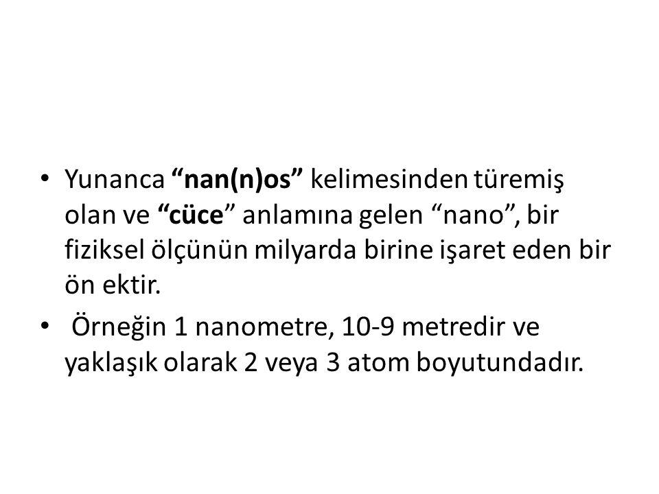 """Yunanca """"nan(n)os"""" kelimesinden türemiş olan ve """"cüce"""" anlamına gelen """"nano"""", bir fiziksel ölçünün milyarda birine işaret eden bir ön ektir. Örneğin 1"""