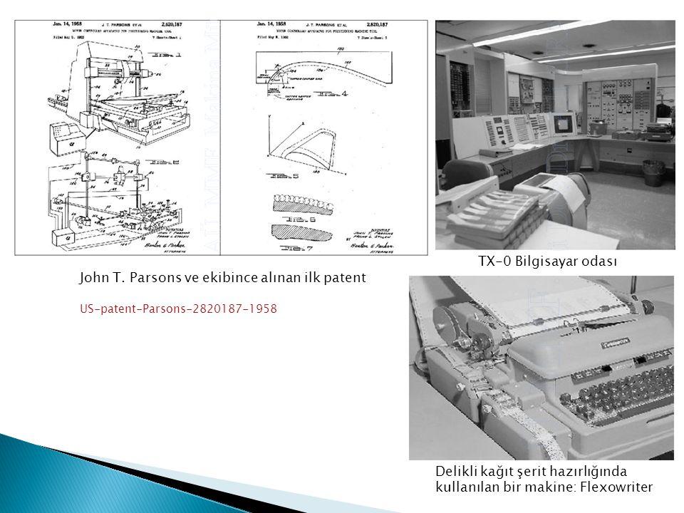 John T. Parsons ve ekibince alınan ilk patent US-patent-Parsons-2820187-1958 TX-0 Bilgisayar odası Delikli kağıt şerit hazırlığında kullanılan bir mak