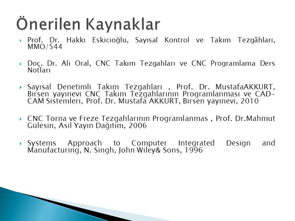  Prof. Dr. Hakkı Eskicioğlu, Sayısal Kontrol ve Takım Tezgâhları, MMO/544  Doç. Dr. Ali Oral, CNC Takım Tezgahları ve CNC Programlama Ders Notları 
