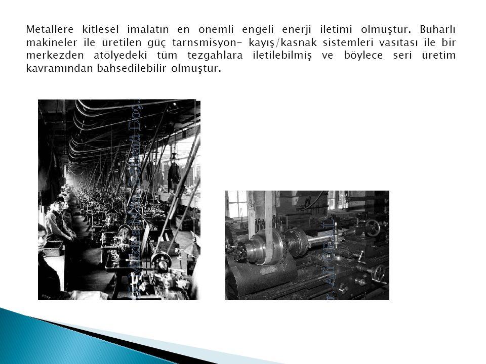 Metallere kitlesel imalatın en önemli engeli enerji iletimi olmuştur. Buharlı makineler ile üretilen güç tarnsmisyon- kayış/kasnak sistemleri vasıtası