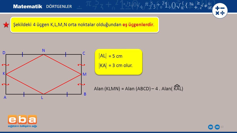 10 Şekildeki 4 üçgen K,L,M,N orta noktalar olduğundan eş üçgenlerdir. = 5 cm DÖRTGENLER A K C B D N M L = 3 cm olur. Alan (KLMN) = Alan (ABCD) – 4. Al