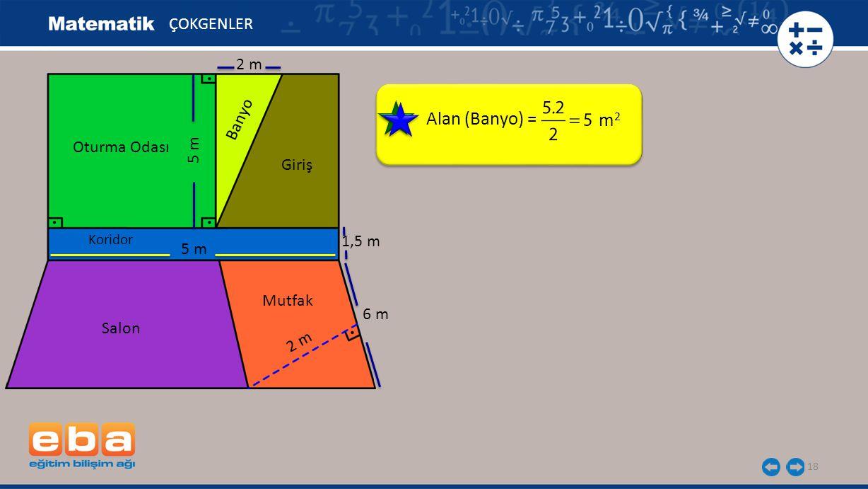18 Alan (Banyo) = ÇOKGENLER m2m2 Oturma Odası 5 m Banyo Giriş Koridor 5 m 1,5 m Salon Mutfak 2 m 6 m 2 m