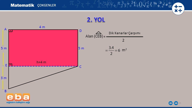 23 Alan (CEB) ÇOKGENLER C A B D 5 m E 4 m h=4 m 3 m m2m2 2 = Dik Kenarlar Çarpımı