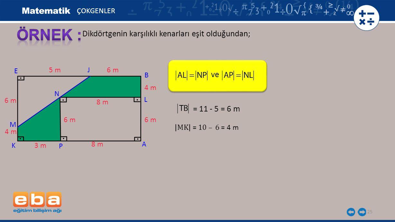 25 Dikdörtgenin karşılıklı kenarları eşit olduğundan; ÇOKGENLER A E K 6 m 5 m 3 m 8 m J 4 m 6 m P M N 4 m 6 m B 8 m ve = 11 - 5 = 6 m L