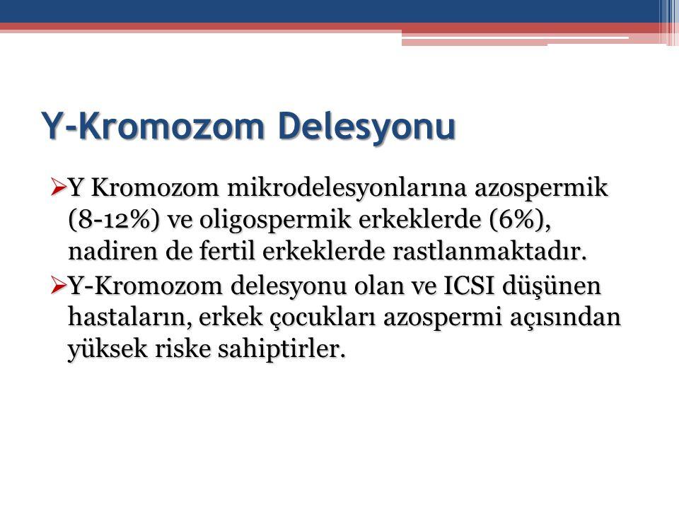 Y-Kromozom Delesyonu  Y Kromozom mikrodelesyonlarına azospermik (8-12%) ve oligospermik erkeklerde (6%), nadiren de fertil erkeklerde rastlanmaktadır