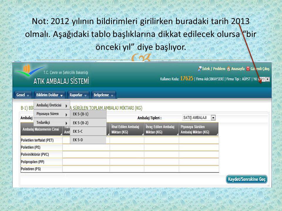  Not: 2012 yılının bildirimleri girilirken buradaki tarih 2013 olmalı.