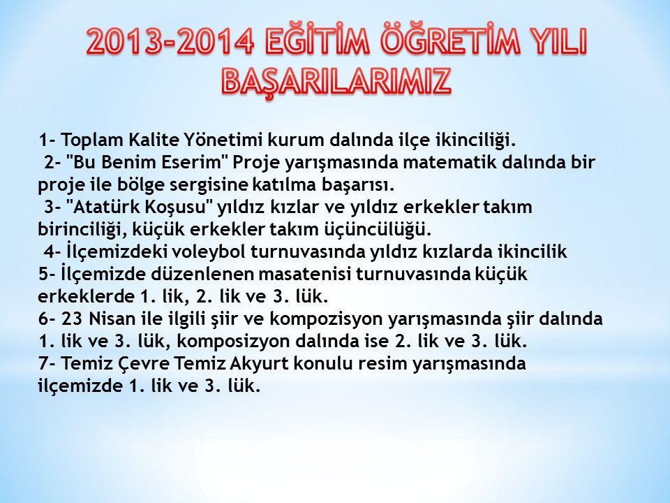 1- Toplam Kalite Yönetimi kurum dalında ilçe ikinciliği.