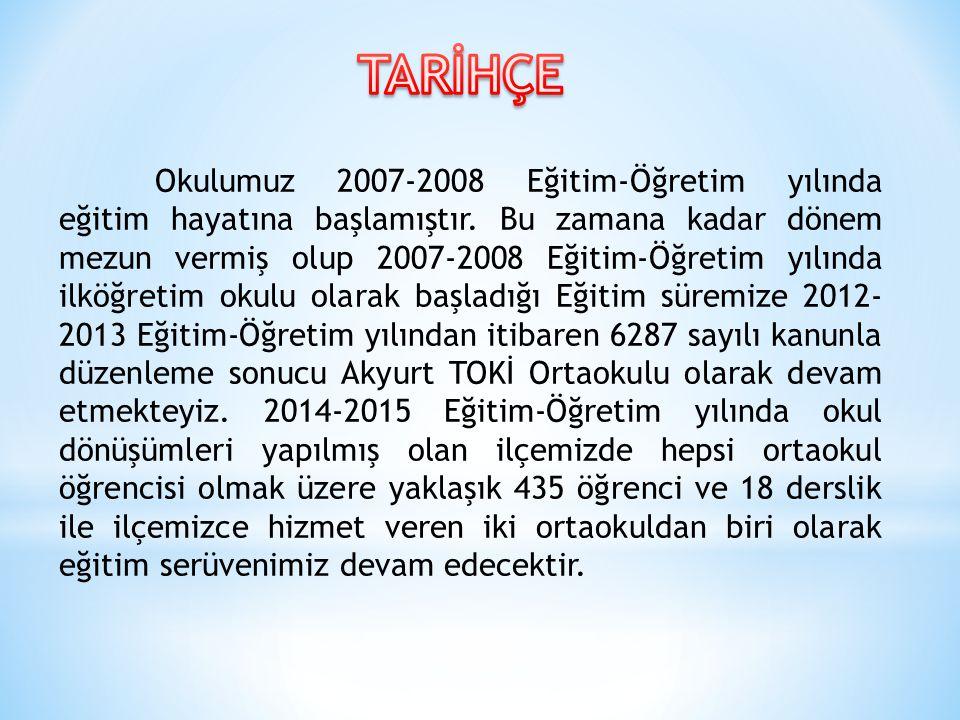 Okulumuz 2007-2008 Eğitim-Öğretim yılında eğitim hayatına başlamıştır.