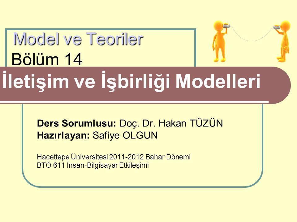 Model ve Teoriler Model ve Teoriler Bölüm 14 İletişim ve İşbirliği Modelleri Ders Sorumlusu: Doç. Dr. Hakan TÜZÜN Hazırlayan: Safiye OLGUN Hacettepe Ü
