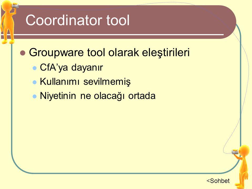 Coordinator tool Groupware tool olarak eleştirileri CfA'ya dayanır Kullanımı sevilmemiş Niyetinin ne olacağı ortada <Sohbet