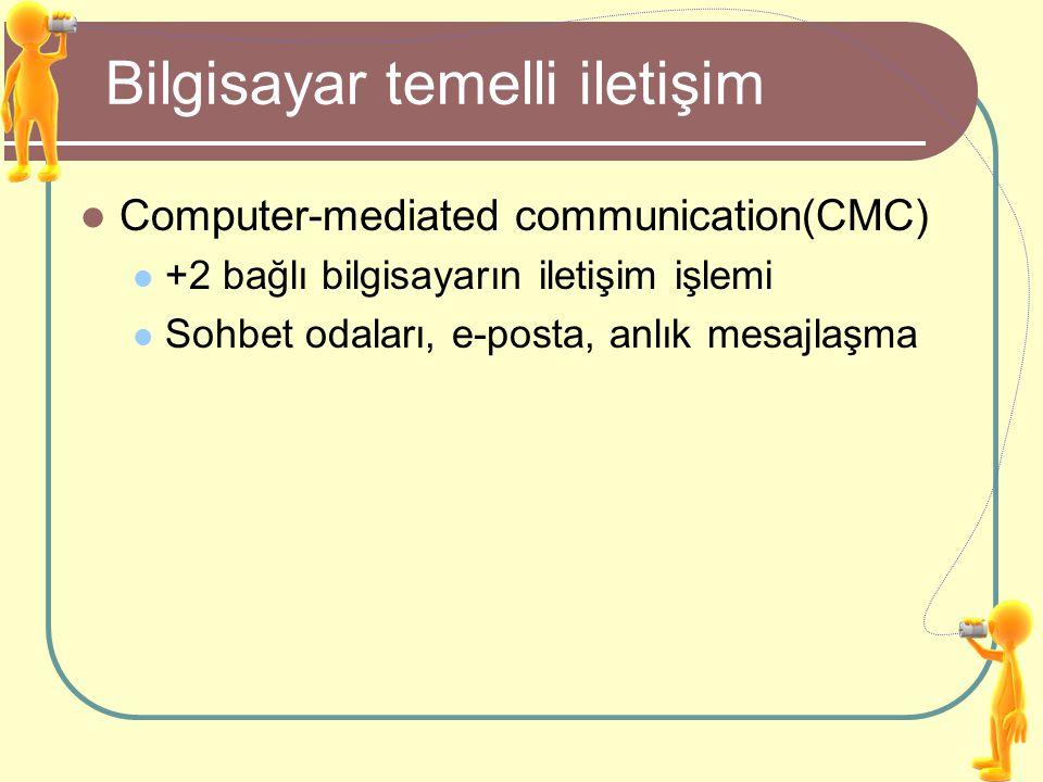 Bilgisayar temelli iletişim Computer-mediated communication(CMC) +2 bağlı bilgisayarın iletişim işlemi Sohbet odaları, e-posta, anlık mesajlaşma
