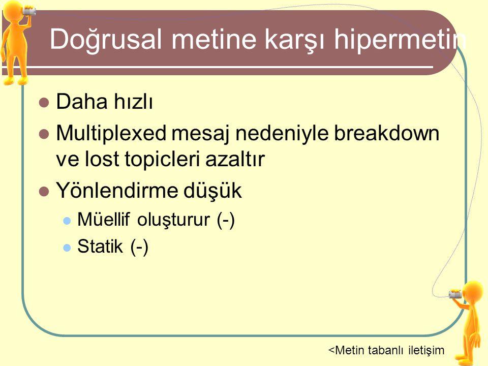 Doğrusal metine karşı hipermetin Daha hızlı Multiplexed mesaj nedeniyle breakdown ve lost topicleri azaltır Yönlendirme düşük Müellif oluşturur (-) St