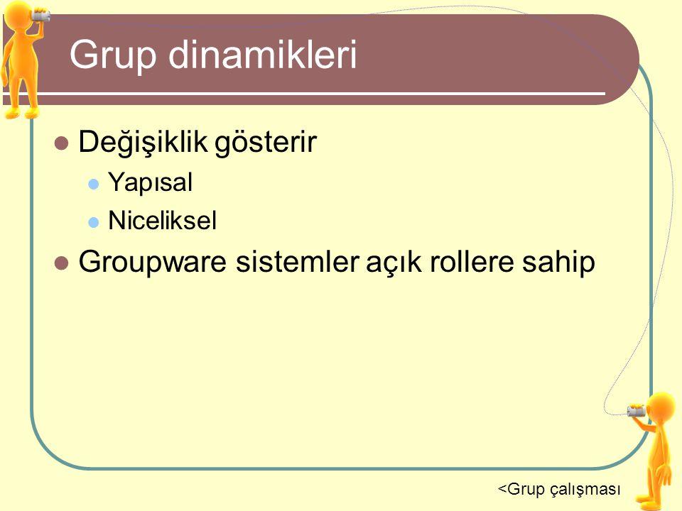 Grup dinamikleri Değişiklik gösterir Yapısal Niceliksel Groupware sistemler açık rollere sahip <Grup çalışması