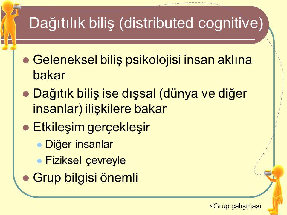 Dağıtılık biliş (distributed cognitive) Geleneksel biliş psikolojisi insan aklına bakar Dağıtık biliş ise dışsal (dünya ve diğer insanlar) ilişkilere
