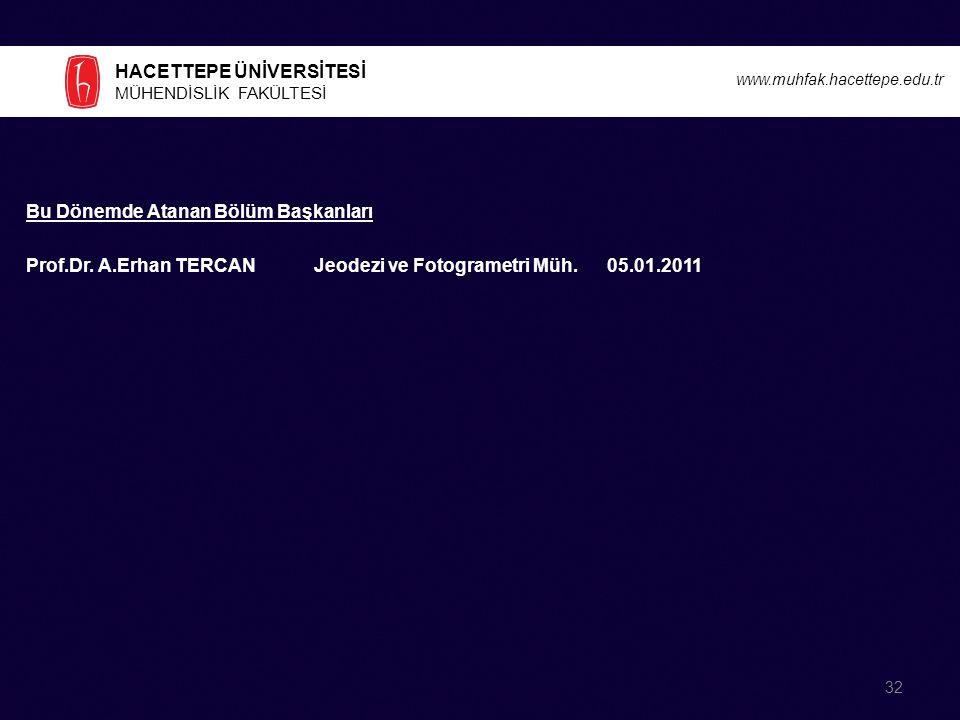 HACETTEPE ÜNİVERSİTESİ MÜHENDİSLİK FAKÜLTESİ www.muhfak.hacettepe.edu.tr Bu Dönemde Atanan Bölüm Başkanları Prof.Dr.