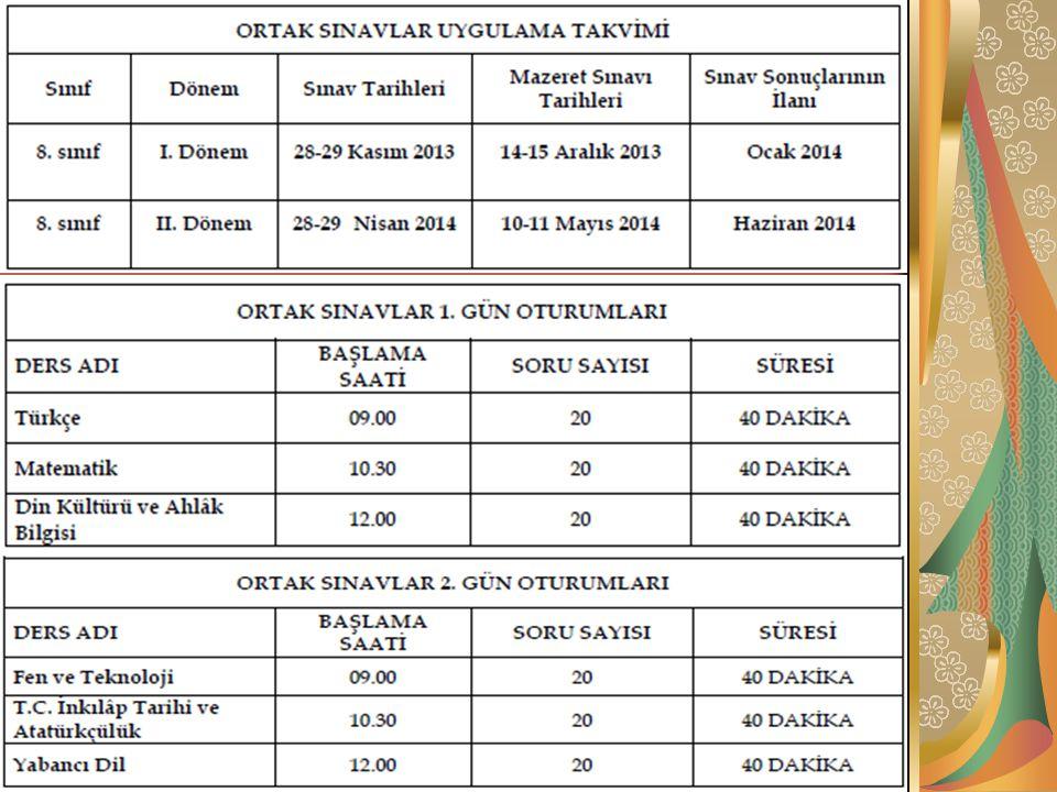 ORTAK SINAVLARIN UYGULANMASI Sınavlar 09:00, 10:30 ve 12:00'de başlayacak ve aynı anda yapılacaktır.