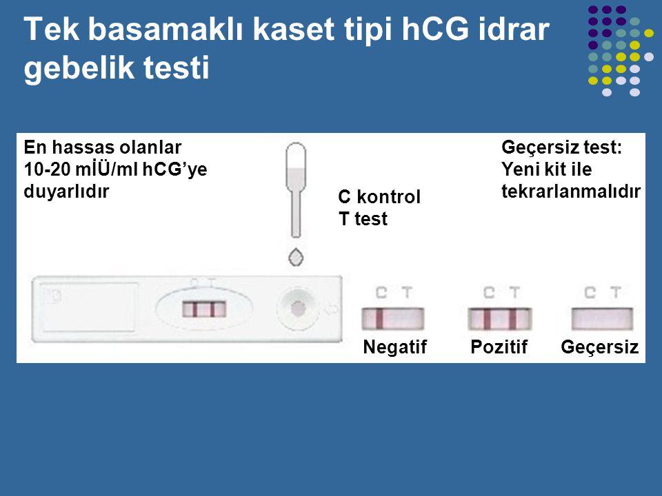 İdrar gebelik testleri Basit olarak bir damla idrar kullanılarak idrarda hCG olup olmadığının araştırılmasıdır. Kalitatif bir yöntemdir. Gebelik testi