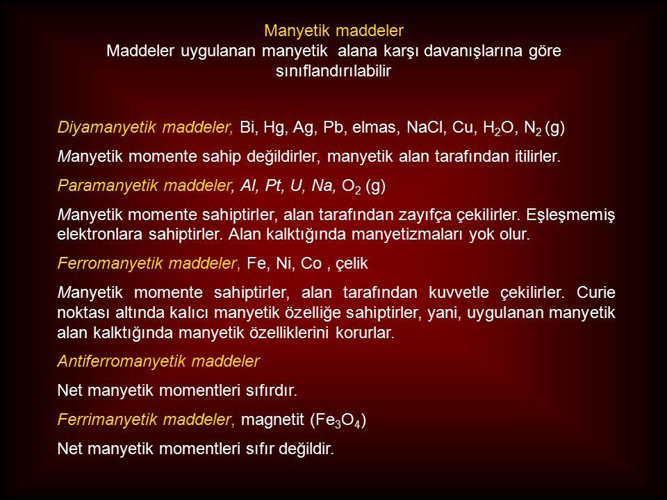 Diyamanyetik maddeler, Bi, Hg, Ag, Pb, elmas, NaCl, Cu, H 2 O, N 2 (g) Manyetik momente sahip değildirler, manyetik alan tarafından itilirler.