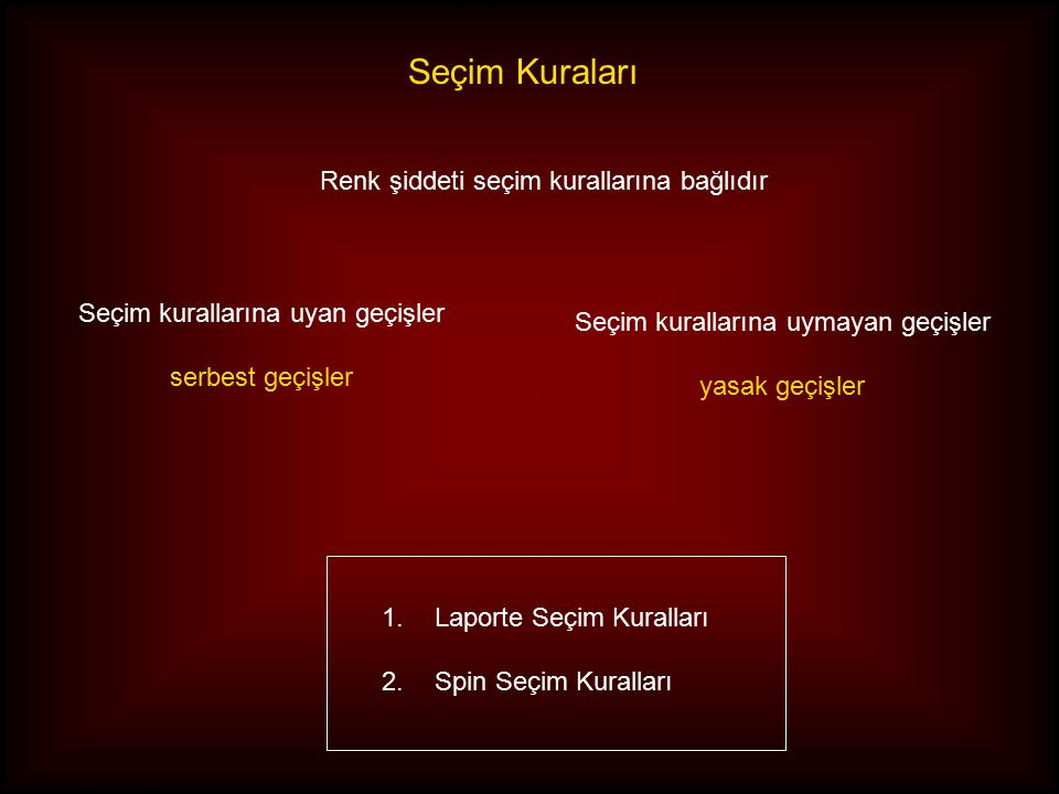 Seçim Kuraları Renk şiddeti seçim kurallarına bağlıdır 1.Laporte Seçim Kuralları 2.Spin Seçim Kuralları Seçim kurallarına uyan geçişler serbest geçişler Seçim kurallarına uymayan geçişler yasak geçişler