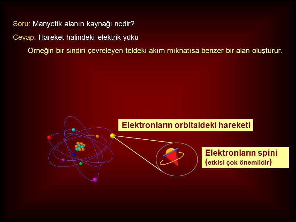 Elektronların orbitaldeki hareketi Elektronların spini ( etkisi çok önemlidir ) Soru: Manyetik alanın kaynağı nedir.