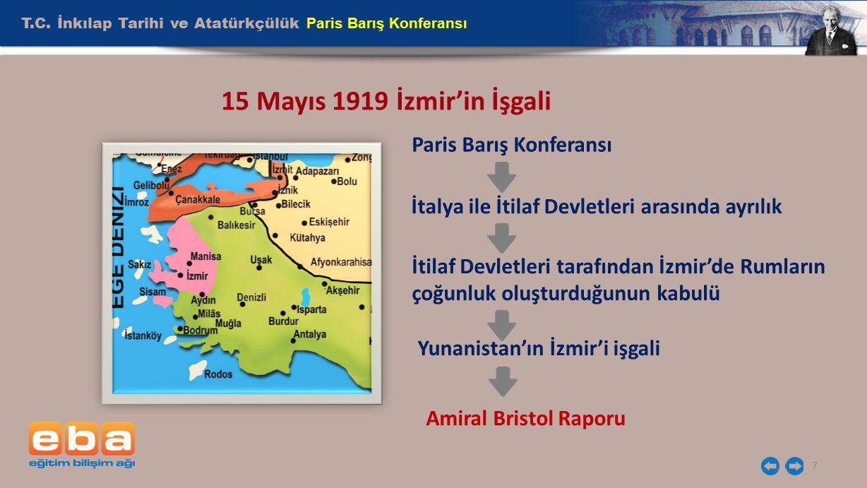 T.C. İnkılap Tarihi ve Atatürkçülük Paris Barış Konferansı 7 15 Mayıs 1919 İzmir'in İşgali Paris Barış Konferansı İtalya ile İtilaf Devletleri arasınd