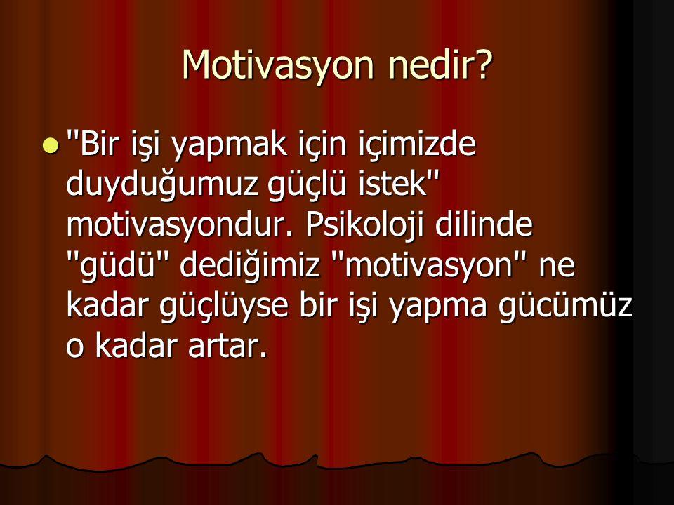 Motivasyon nedir. Bir işi yapmak için içimizde duyduğumuz güçlü istek motivasyondur.