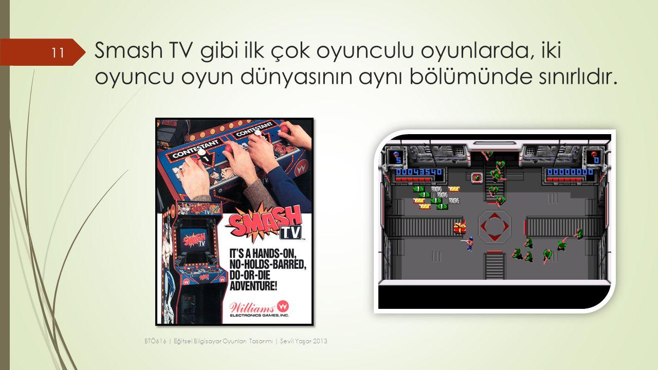 Smash TV gibi ilk çok oyunculu oyunlarda, iki oyuncu oyun dünyasının aynı bölümünde sınırlıdır. 11 BTÖ616 | Eğitsel Bilgisayar Oyunları Tasarımı | Sev