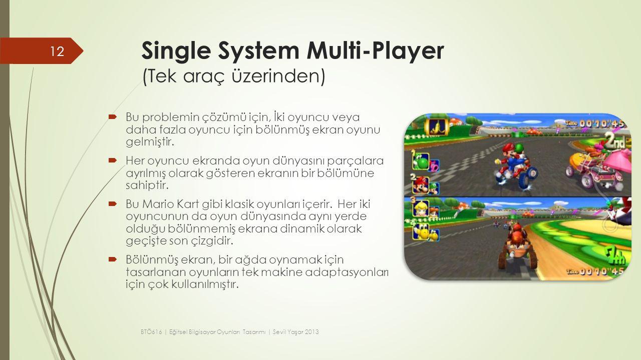 Single System Multi-Player (Tek araç üzerinden)  Bu problemin çözümü için, İki oyuncu veya daha fazla oyuncu için bölünmüş ekran oyunu gelmiştir.  H