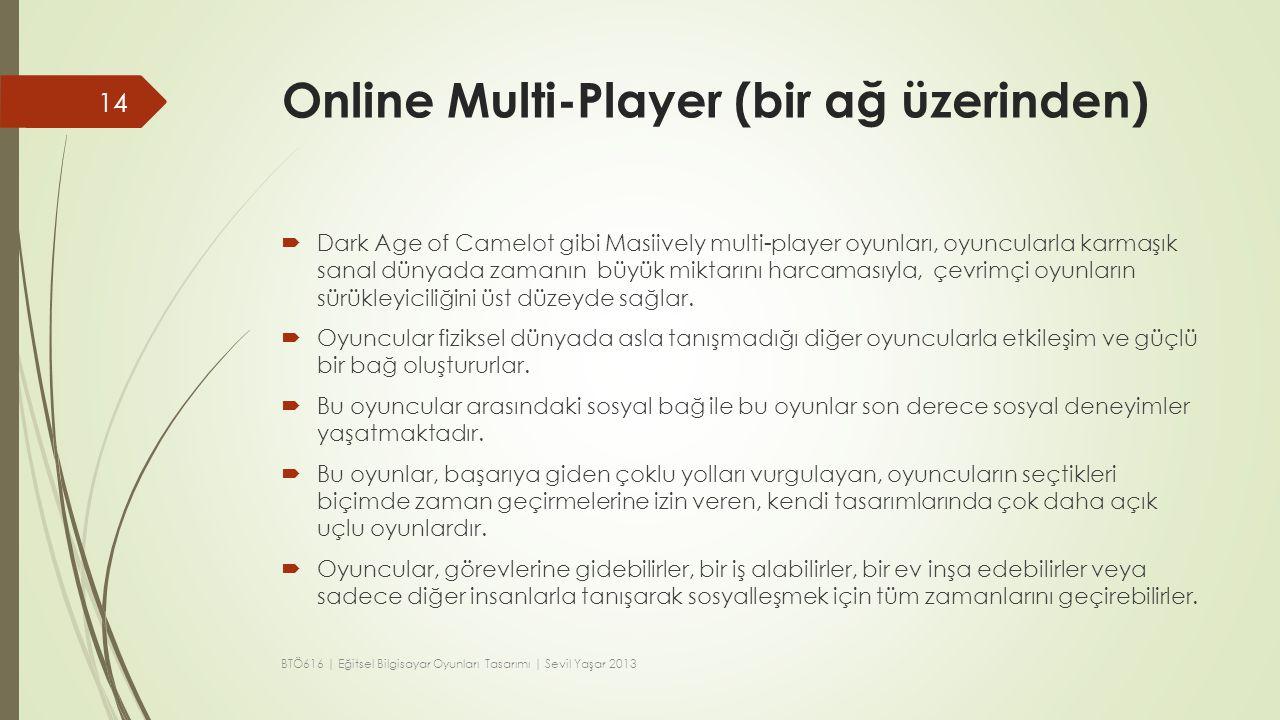 Online Multi-Player (bir ağ üzerinden)  Dark Age of Camelot gibi Masiively multi-player oyunları, oyuncularla karmaşık sanal dünyada zamanın büyük mi