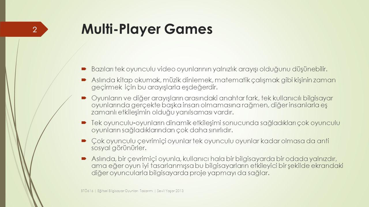 Multi-Player Games  Bazıları tek oyunculu video oyunlarının yalnızlık arayışı olduğunu düşünebilir.  Aslında kitap okumak, müzik dinlemek, matematik