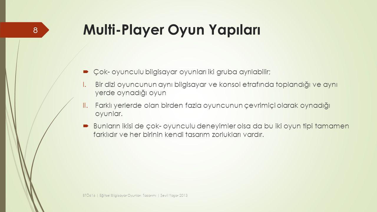 Multi-Player Oyun Yapıları  Çok- oyunculu bilgisayar oyunları iki gruba ayrılabilir; I.Bir dizi oyuncunun aynı bilgisayar ve konsol etrafında topland