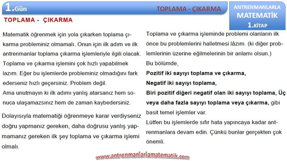 ANTRENMANLARLA MATEMATİK 1.KİTAP ANTRENMANLARLA MATEMATİK 1.