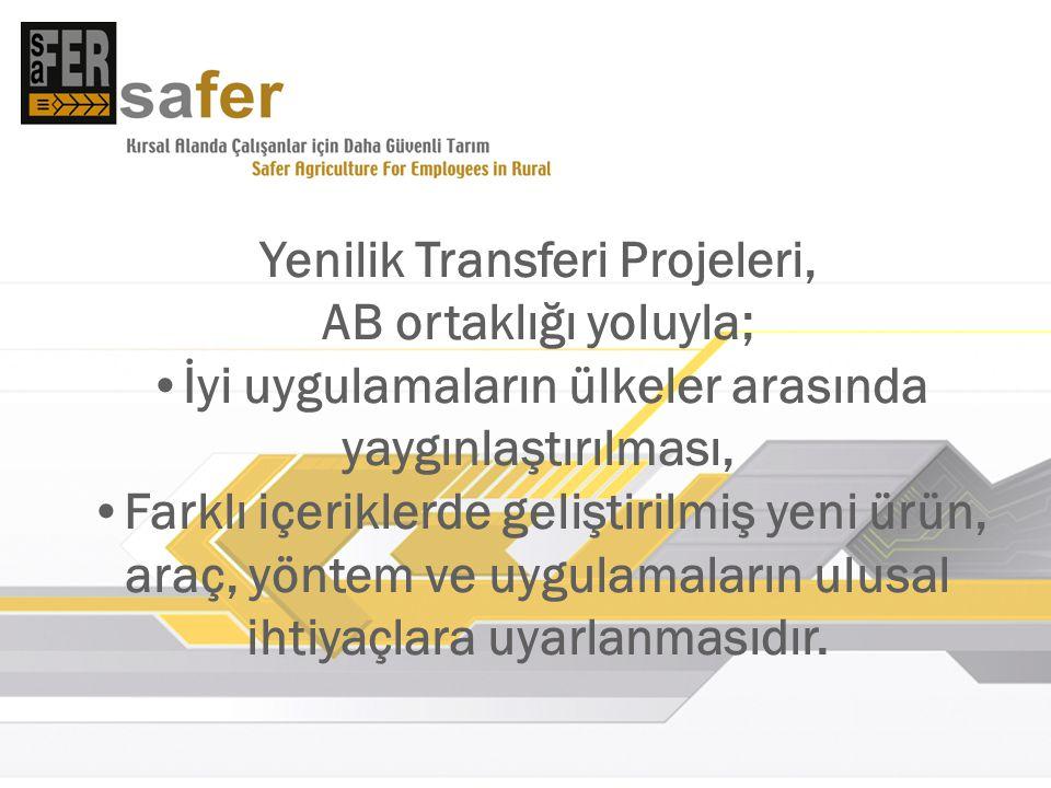 Yenilik Transferi Projeleri, AB ortaklığı yoluyla; İyi uygulamaların ülkeler arasında yaygınlaştırılması, Farklı içeriklerde geliştirilmiş yeni ürün, araç, yöntem ve uygulamaların ulusal ihtiyaçlara uyarlanmasıdır.
